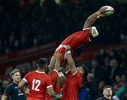 Fotu Lokotui of Tonga claims the restart<br /> <br /> Photographer Simon King/Replay Images<br /> <br /> Under Armour Series - Wales v Tonga - Saturday 17th November 2018 - Principality Stadium - Cardiff<br /> <br /> World Copyright © Replay Images . All rights reserved. info@replayimages.co.uk - http://replayimages.co.uk