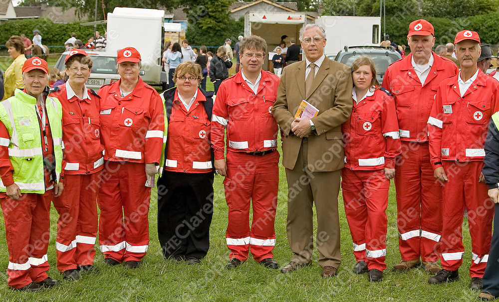 Red Cross volunteers on duty at Corofin show with Defence Minister Tony Killeen (from left); Gertie Glennon, Christina O'Connor, Carmel Minihan, Bernie Dillon, Michael Conlan, Tony Killeen, Gemma Gallagher, Brian McMahon and Tom Minihan.Ê<br /> Ray Keogh<br /> Red Cross volunteers on duty at Corofin show with Defence Minister Tony Killeen (from left); Gertie Glennon, Christina O'Connor, Carmel Minihan, Bernie Dillon, Michael Conlan, Tony Killeen, Gemma Gallagher, Brian McMahon and Tom Minihan.<br /> Ray Keogh
