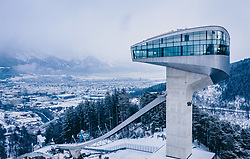 THEMENBILD - die Bergisel Schanze aus der Luft, aufgenommen am 04. Januar 2019 in Innsbruck, Österreich // Arial View of the Bergisel Hill with Stadium, Innsbruck, Austria on 2019/01/04. EXPA Pictures © 2019, PhotoCredit: EXPA/ JFK