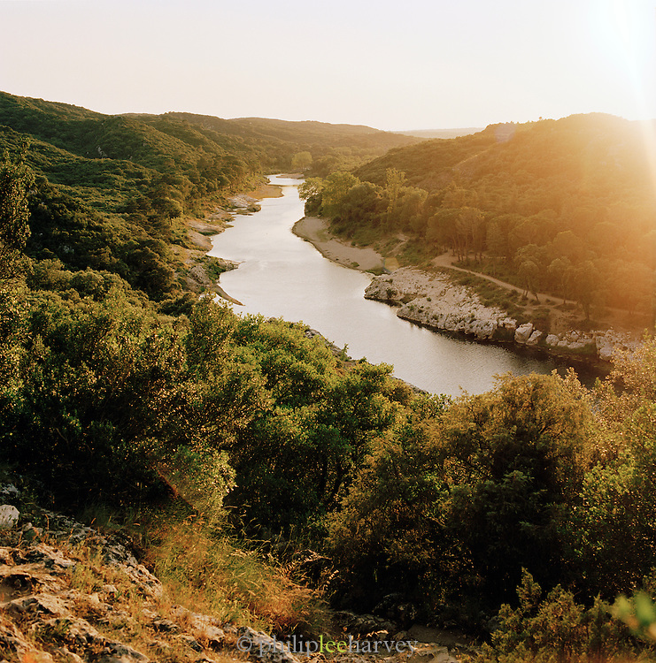 The Gard river near Remoulins in the Gard region, France