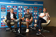 Andre Giraud (FFA President), Christophe Lemaitre (FRA) and Laurent Boquillet (Athlete's Liaison) during press conference of Meeting de Paris 2018, Diamond League, at Hotel Marriott, in Paris, France, on June 29, 2018 - Photo Jean-Marie Hervio / KMSP / ProSportsImages / DPPI