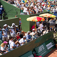 Photographers work during the Gaz de France Suez WTA tour Grand Prix international women tennis competition held at Roman Tennis Academy in Budapest, Hungary. Tuesday, 06. July 2010. ATTILA VOLGYI