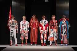 """© Licensed to London News Pictures. 02/06/2015. London, UK. Collection by Kayleigh Walmsley, UEL, University of East London. Runway show """"Best of Graduate Fashion Week 2015"""". Graduate Fashion Week takes place from 30 May to 2 June 2015 at the Old Truman Brewery, Brick Lane. Photo credit : Bettina Strenske/LNP"""