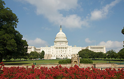 Washington DC; USA: The Capitol Building, legislative branch of the US government, with red flowers.Photo copyright Lee Foster Photo # 3-washdc83025