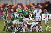 Rugby Union - 2020 / 2021 European Rugby Challenge Cup - London Irish vs Pau - Brentford Community Stadium<br /> <br /> London Irish's Blair Cowan congratulates the front row after a scrum.<br /> <br /> COLORSPORT/ASHLEY WESTERN