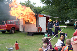 Fire safety demonstration by Firemen at Lark in the Park; West Bridgford; Nottingham,
