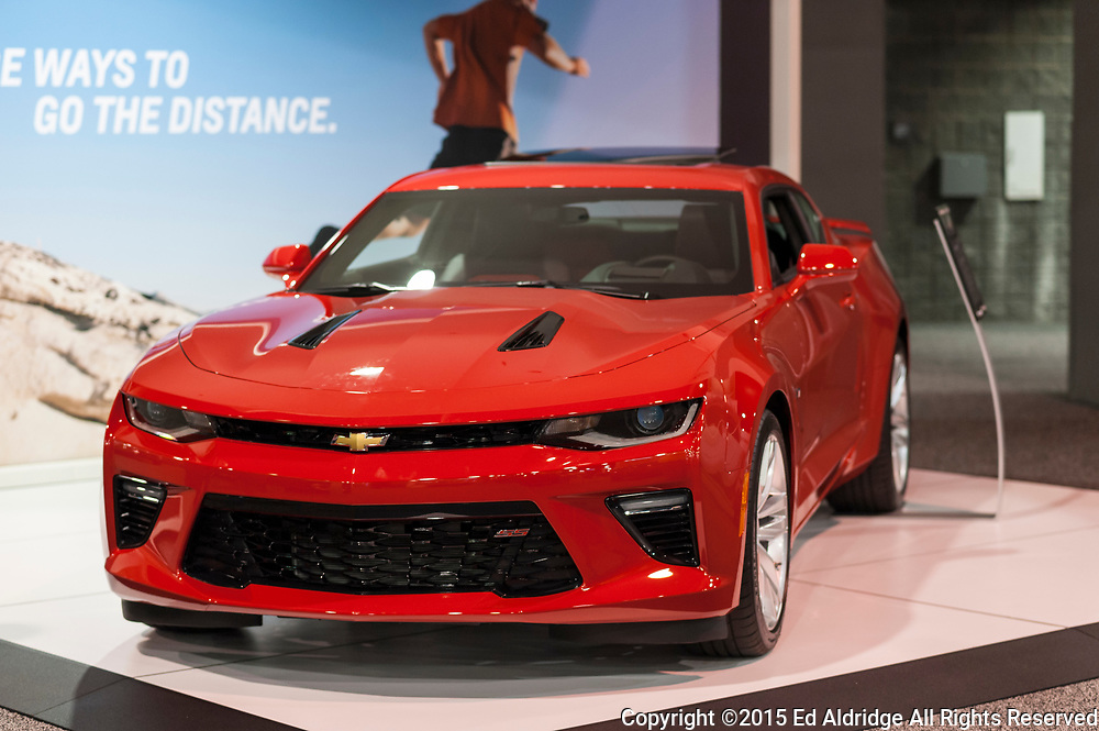 CHARLOTTE, NC, USA - November 11, 2015: Chevrolet Camaro SS on display during the 2015 Charlotte International Auto Show at the Charlotte Convention Center in downtown Charlotte.