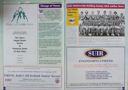 All Ireland Senior Hurling Championship - Final, .12.09.1999, 09.12.1999, 12th September 1999,.12091999AISHCF,.Senior Kilkenny v Cork,.Minor Galway v Tipperary, .Cork 0-13, Kilkenny 0-12,.SUIR engineering limited, .1974 Kilkenny Team, standing from left, Mick Brennan, Tom McCormack, Eddie Keher, Frank Cummins, MIck Crotty, Pat Henderson, Billy Fitzpatrick, Phil 'Fan' Larkin, .Seated from left, Pat Lawlor, Liam O'Brien, Noel Skehan, Nickey Orr captain, Jim Treacy, Kieran Purcell, Pat Delaney,
