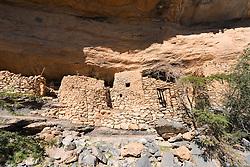 Abandoned village of As Sab on the Balcony Walk hiking trail along Wadi Nakhr canyon at Jebel Shams in Oman Middle East