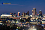 View of the city skyline from the rooftop bar at the Ponchartrain Hotel  in New Orleans, Louisiana, USA