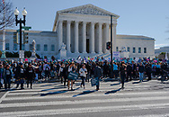 Washington, DC, USA -- March 4, 2020. Wide angle photo of a throng of protesters at an abortion rights rally in front of the Supreme Court.