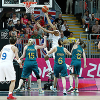 30 July 2012: Sandrine Gruda of Team France goes for the layup during the 74-70 Team France overtime victory over Team Australia, during the women's basketball preliminary, at the Basketball Arena, in London, Great Britain.