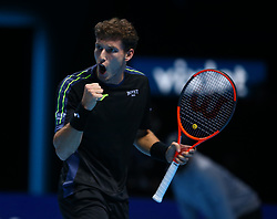 November 15, 2017 - London, United Kingdom - Pablo Carreno Busta of Spain celebrates a point.during Day Four of the NITTO ATP World Tour  Finals played at The O2 Arena, London on November 15 2017  (Credit Image: © Kieran Galvin/NurPhoto via ZUMA Press)