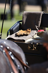 A pair of riding gloves and a scarf and hat on the seat of the Duke of Edinburgh's driving carriage at it arrives for his funeral at Windsor Castle, Berkshire. Picture date: Saturday April 17, 2021.