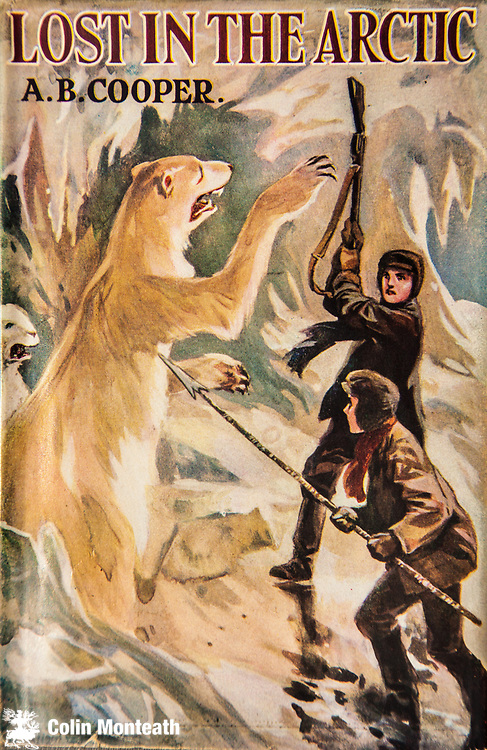 Lost in the Arctic by A B Cooper, child's book circa 1911 - boys tackle a polar bear with rifle and spear, Arctic Canada or Alaska.
