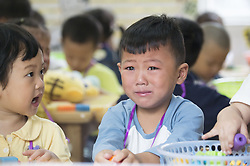 September 6, 2017 - Nanton, Nanton, China - Children cries on their first school day at a kindergarten in Nantong, east China's Jiangsu Province. It's the first time for the kids to leave their parents and stay with new friends. (Credit Image: © SIPA Asia via ZUMA Wire)