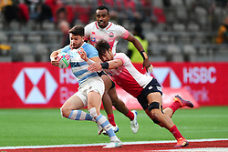 March 9, 2019 - Vancouver, BC, U.S. - VANCOUVER, BC - MARCH 09:  Taiki Koyama (7)  of Japan tackles Lautaro Bazan Velez (7) of Argentina during day 1 of the 2019 Canada Sevens Rugby Tournament on March 9, 2019 at BC Place in Vancouver, British Columbia, Canada. (Photo by Devin Manky/Icon Sportswire) (Credit Image: © Devin Manky/Icon SMI via ZUMA Press)
