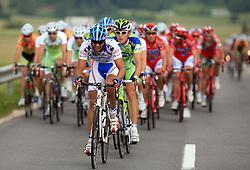 Riders in peloton (firts is Roberto Traficante of Italia  Serramenti (PVC Diqugiovanni -Androni Giocattoli) during 1st stage of the 15th Tour de Slovenie from Ljubljana to Postojna (161 km) , on June 11,2008, Slovenia. (Photo by Vid Ponikvar / Sportal Images)/ Sportida)