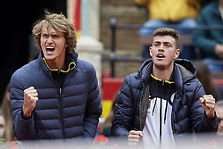 April 7, 2018 - Valencia, Valencia, Spain - Alexander Zverev (L) reacts next to Maximilian Marterer of Germany during the doubles match between Feliciano Lopez and Marc Lopez of Spain against Tim Putz and Jan-Lennard Struff of Germany during day two of the Davis Cup World Group Quarter Finals match between Spain and Germany at Plaza de Toros de Valencia on April 7, 2018 in Valencia, Spain  (Credit Image: © David Aliaga/NurPhoto via ZUMA Press)