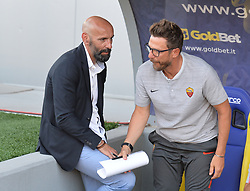 July 20, 2018 - Frosinone, Lazio, Italy - AS Roma head coach Eusebio Di Francesco and AS Roma Sport Director Ramón Rodríguez Verdejo Monchi during the Pre-Season Friendly match between AS Roma and Avellino at Stadio Benito Stirpe on July 20, 2018 in Frosinone, Italy. (Credit Image: © Silvia Lore/NurPhoto via ZUMA Press)