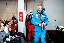 February 9, 2019 - Re, SWEDEN - 190209 Aksel Lund Svindal of Norway at a press conference after the Men's downhill during the FIS Alpine World Ski Championships on February 9, 2019 in re  (Credit Image: © Daniel Stiller/Bildbyran via ZUMA Press)