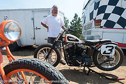 Fred Cuba of Fast Fred's HD the Sturgis Flat Track during the annual Sturgis Black Hills Motorcycle Rally.  SD, USA.  August 8, 2016.  Photography ©2016 Michael Lichter.