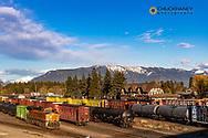 Railyard at last light in downtown Whitefish, Montana, USA