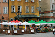 Old Town Square restaurants on a summer evening. Warsaw, Poland.
