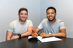 Manager Lee Johnson sits with Korey Smith of Bristol City who has signed a new three year contract at the club ahead of the 2016/17 Sky Bet Championship Campaign - Mandatory byline: Rogan Thomson/JMP - 06/07/2016 - FOOTBALL - Ashton Gate Stadium - Bristol, England.
