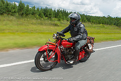 Kirk MacGillivray riding his 1928 Indian Scout during Kirk MacGillivray riding his 1928 Indian Scout during Stage 1 of the Motorcycle Cannonball Cross-Country Endurance Run, which on this day ran from Daytona Beach to Lake City, FL., USA. Friday, September 5, 2014.  Photography ©2014 Michael Lichter.