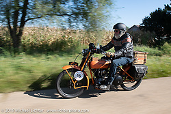 John Bartman riding his 1923 Harley-Davidson J during the Motorcycle Cannonball coast to coast vintage run. Stage 6 (260 miles) from Bourbonnais, IL to Cedar Rapids, IA. Thursday September 13, 2018. Photography ©2018 Michael Lichter.