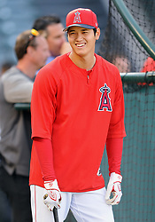 April 19, 2018 - Anaheim, CA, U.S. - ANAHEIM, CA - APRIL 19: Los Angeles Angels of Anaheim designated hitter Shohei Ohtani (17) on the field during batting practice before a game against the Boston Red Sox played on April 19, 2018 at Angel Stadium of Anaheim in Anaheim, CA. (Photo by John Cordes/Icon Sportswire) (Credit Image: © John Cordes/Icon SMI via ZUMA Press)
