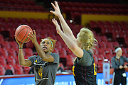 March 17, 2016: An Arizona State Sun Devils player goes up for a layup during the first practice day of the 2016 NCAA Division I Women's Basketball Championship first round in Tempe, Ariz.