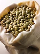 Organic Green Lentils Beans - Stock Photos
