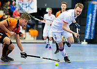 ROTTERDAM  - NK Zaalhockey,   halve finale heren Oranje Rood-SCHC (SCHC wint en plaatst zich voor de finale)  Max Sweering (SCHC) met      COPYRIGHT KOEN SUYK