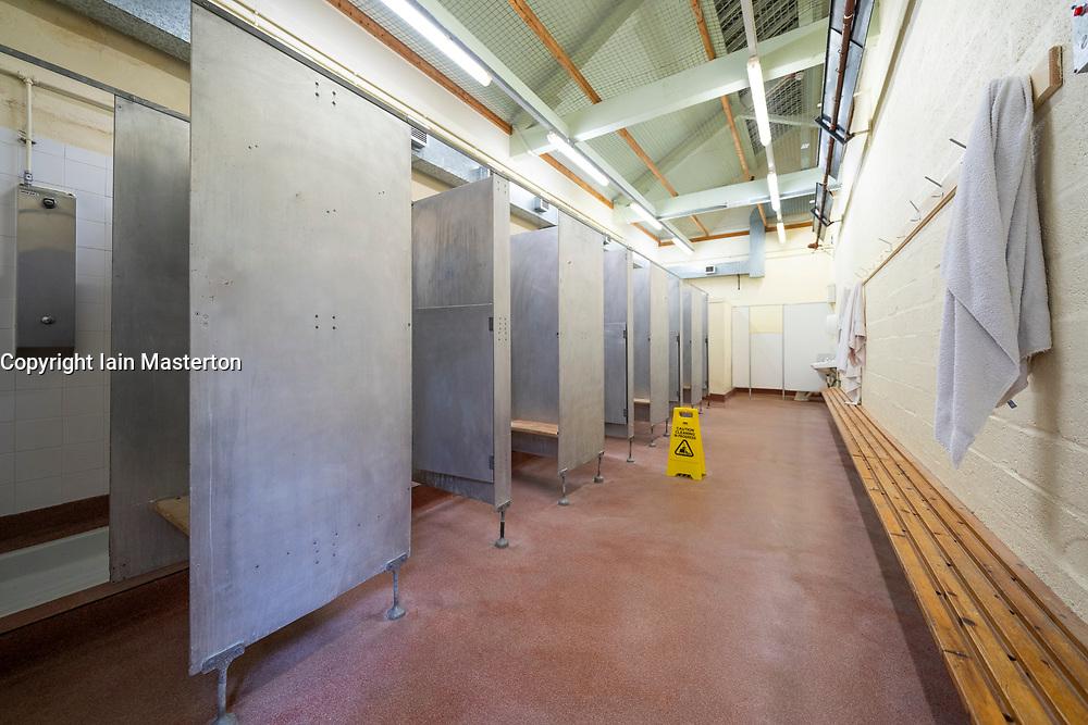Prisoner shower area at former prisoner hall at Peterhead Prison Museum in Peterhead, Aberdeenshire, Scotland, UK
