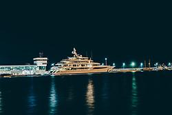 THEMENBILD - Langzeitbelichtung der Megayacht Royal Romance im Hafen während eines Unwetters. Sie wurde vom Konstruktionsbüro Studio De Voogt entworfen und von der Werft Feadship gebaut.[Das Schiff galt bei seiner Fertigstellung 2014 als modernste Yacht der Welt. Eigner ist der ukrainische Politiker, Rechtsanwalt und Oligarch Wiktor Medwedtschuk, aufgenommen am 13. August 2019 in Rijeka, Kroatien // Long time exposure of the mega yacht Royal Romance in the harbour during a thunderstorm. She was designed by Studio De Voogt and built by the shipyard Feadship[The ship was considered to be the most modern yacht in the world when it was completed in 2014. The owner is the Ukrainian politician, lawyer and oligarch Viktor Medvedchuk. in Rijeka, Croatia on 2019/08/13. EXPA Pictures © 2019, PhotoCredit: EXPA/ JFK
