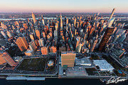 Aerial view of Midtown East and the United Nations in New York City, photographed at sunrise from a helicopter.