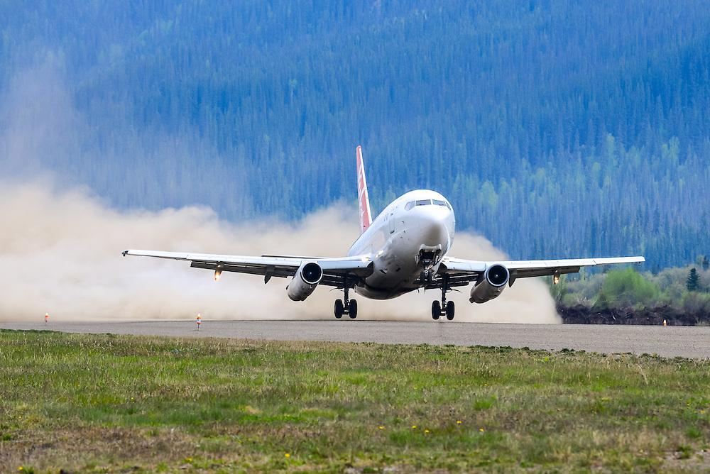 Creating a dust cloud at Dawson City Airport (CYDA)
