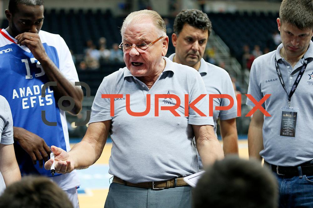 Anadolu Efes's Coach Dusan Ivkovic during their Gloria Cup Basketball Tournament match Anadolu Efes between Crvena Zvezda at Ulker Sports Arena in istanbul Turkey on Friday 26 September 2014. Photo by Aykut AKICI/TURKPIX