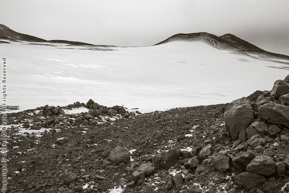 Wilson's Stone Igloo #2, Cape Crozier, Ross Island, Antarctica. The Knoll in distance.