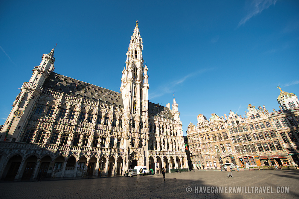 on Grand Place (La Grand-Place), a UNESCO World Heritage Site in central Brussels, Belgium. Lined with ornate, historic buildings, the cobblestone square is the primary tourist attraction in Brussels.