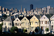 The Seven Painted Ladies, row of Victorian-era houses near Alamo Square, San Francisco, California