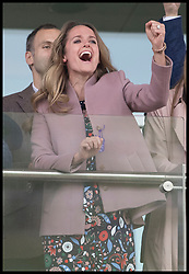 March 13, 2019 - Cheltenham, United Kingdom - Image licensed to i-Images Picture Agency. 13/03/2019. Cheltenham , United Kingdom.  Kim Sears, wife of Tennis player Andy Murray  celebrates after watching the main race during Ladies Day on the second day of the Cheltenham Festival  (Credit Image: © Stephen Lock/i-Images via ZUMA Press)