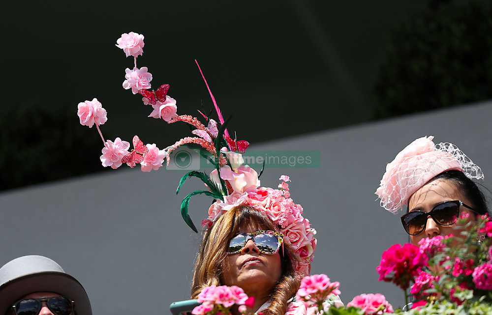 A racegoer wearing a hat during day three of Royal Ascot at Ascot Racecourse.