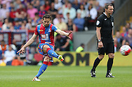 Yohan Cabaye of Crystal Palace taking a free kick. Barclays Premier League match, Crystal Palace v Stoke City at Selhurst Park in London on Saturday 7th May 2016. pic by John Patrick Fletcher, Andrew Orchard sports photography.