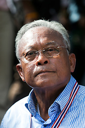 © Licensed to London News Pictures. 16/05/2014. PDRC leader Suthep Thaugsuban during a rally outside Parliament in Bangkok Thailand where key senators were holding a meeting on May 16, 2014.  Photo credit : Asanka Brendon Ratnayake/LNP