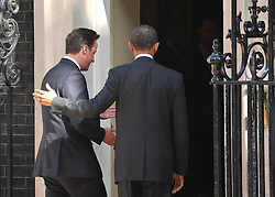 © licensed to London News Pictures. LONDON, UK  25/05/11. Barack Obama and David Cameron meet in Downing Street during US President Obama's first State Visit to the United Kingdom. Please see special instructions. Photo credit should read Stephen Simpson/LNP