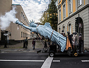 A six meter high replica of the Statue of Liberty made by Danish artist Jens Galschiot at the 'Climate March' demonstration prior to the UN Climate Change Conference COP23 in Bonn, Germany, 04 November 2017. The 23rd session of the United Nations Framework Convention on Climate Change Conference (UNFCCC), the 2017 UN Climate Change Conference COP23 will take place from 06 to 17 November in Bonn, the seat of the Climate Change Secretariat, and is presided by Fiji. EPA-EFE/OMER MESSINGER