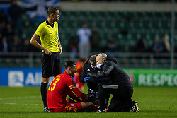TALLINN, ESTONIA - Monday, October 11, 2021: Wales' Kieffer Moore is treated for blurred vision during the FIFA World Cup Qatar 2022 Qualifying Group E match between Estonia and Wales at the A. Le Coq Arena. Wales won 1-0. (Pic by David Rawcliffe/Propaganda)